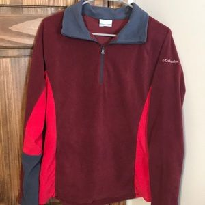Columbia maroon and blue quarter zip